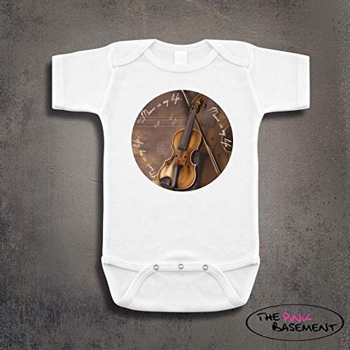 Violin Music is my life Notes Musician Baby Clothes Clothing child Unisex Boys Girls Newborn Infant Shower Gift Jumper Jumpsuit Bodysuit One piece Pajamas ()