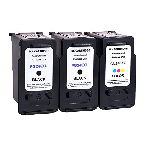 3Pack Remanufactured Ink Cartridge Replacement For PG 245XL & CL 246 (2Black+1Tri-Color) 245 XL With Ink Level Indicator Used In Canon PIXMA iP2820 MG2420 MG2520 2920 MG2922 MG2924 MX492 MX490 Printer