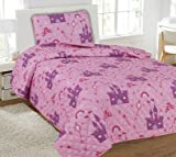 GorgeousHome (#22) PRINCESS PALACE 2PC Twin Printed Quilt Coverlet Bedspread Pillow Case Bed Bedding Set For Girls