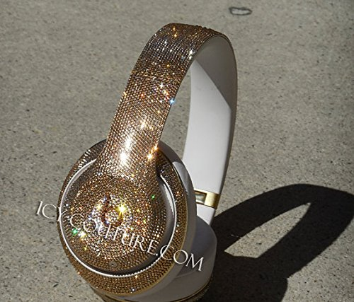 ICY Couture GOLD Bling Studio Wireless Beats By Dre Custom Bedazzled with Tiny Size 5 Swarovski Crystals. on Our Work.