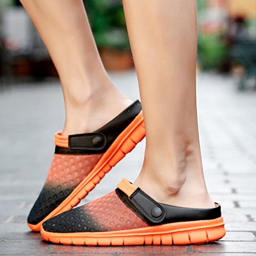 Plage Couple Hommes Large Chaussures Respirant Pantoufles Orange Casual Sabots Femmes Sandale Dame Caoutchouc En Tongs Fit Maille BX1rSAcXW