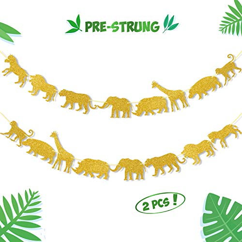 Jungle Baby Shower Party Supplies (Gold Jungle Safari Animal Banner Zoo Garland Baby Shower Boys Girls Birthday Party Supplies)