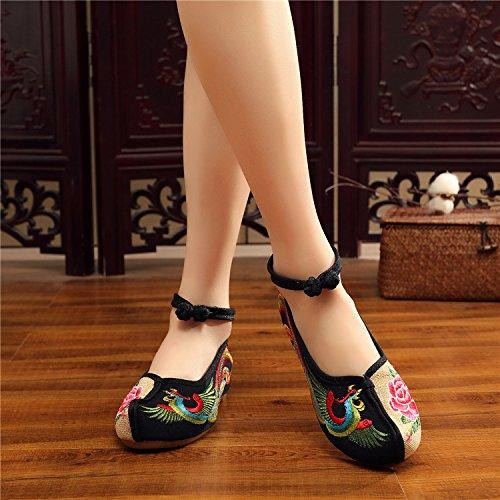 Antideslizantes Suave Ropa Phoenix Black old Dichotomanthes Fondo Beijing Zapatos Bordado Retro Khskx qYCwtF6c