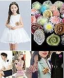 30pcs Mini Rose Mixed Color Fabric Flower Wedding Doll House Supplies Card DIY Craft Decoration 2-5cm