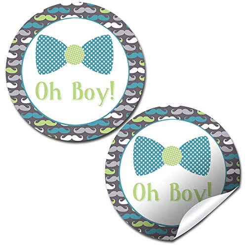 (Little Man Bow Tie, Mustache, Suspenders Themed Baby Sprinkle Baby Shower for Boys Thank You Sticker Labels, 40 2
