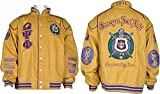 Cultural Exchange Omega Psi Phi Fraternity Mens NASCAR Twill Jacket [Gold - 6XL]