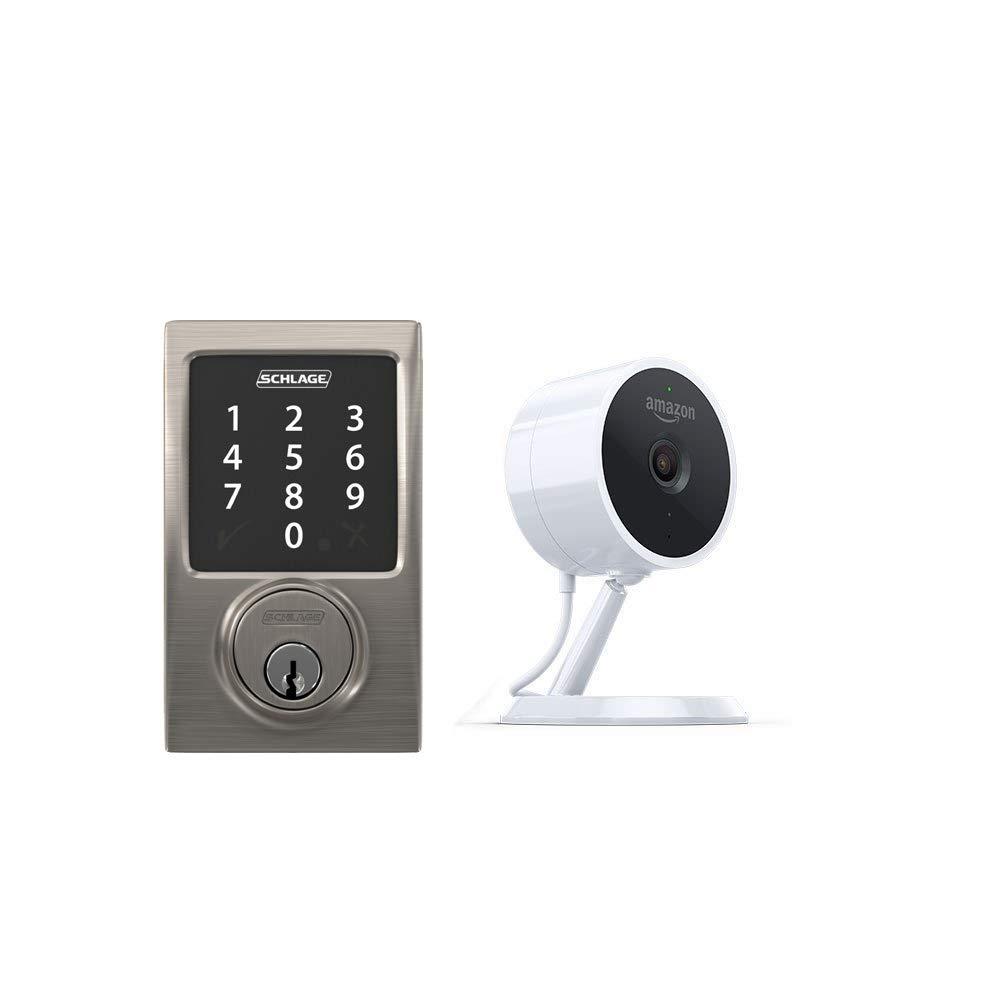 Schlage Connect Zigbee-Certified Smart Deadbolt + Amazon Cloud Cam   Key  Smart Lock Kit (Century in Satin Nickel)