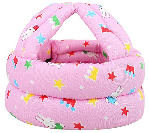 Simplicity Baby No Bumps Safety Helmet Head Bumper Bonnet, Pink Rabbit