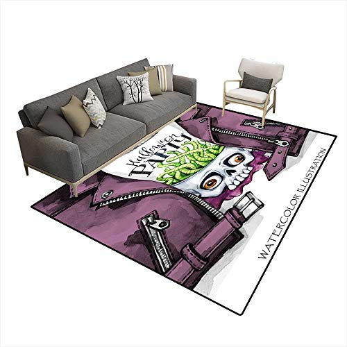 Kids Carpet Playmat Rug Watercolor Fun Illustration Halloween carHanpainteleather Jacket wi Print Skull wi Brains of Worms Rock Style Girl R 5'x7' (W150cm x L210cm
