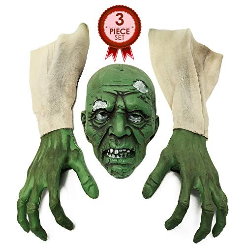 NorNovelties Zombie Party Decorations & Decor – 3 Piece Scary Halloween Zombie Set For Outdoor -