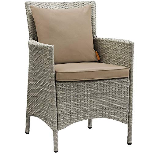 Modway EEI-2802-LGR-MOC Conduit Outdoor Patio Wicker Rattan Dining Armchair, Light Gray, Mocha