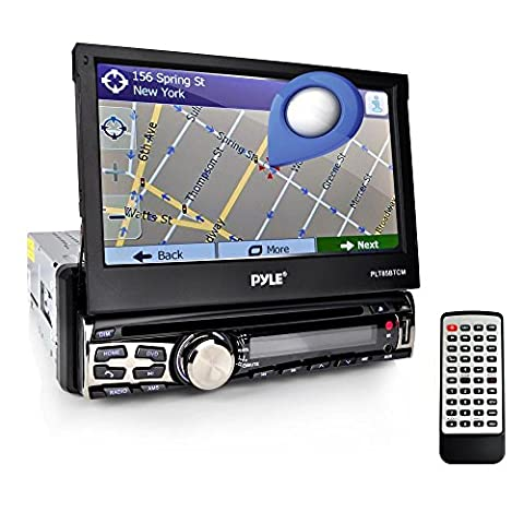 Pyle Bluetooth 7-Inch Car Stereo Headunit Receiver, Built-In Mic, Hands-Free Call Answering, Touch Screen, am fm Radio CD/DVD Car Audio System (Radios De Dvd)