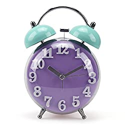 Jinberry 3.5 (10cm) Retro Twin Bell Silent Alarm Clock with Night light and Curved Surface Front / No Tick Classic Vintage Table Clock - Purple and Blue