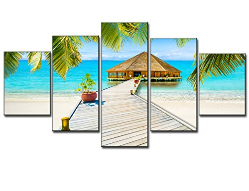 Box Tree Gallery (Beach Palm Tree House Scene of Sea Landscape Picture Modern Painting on Canvas 5 Piece Framed Wall Art for Living Room Bedroom Kitchen Home Deco Stretched Gallery Canvas Wrap Giclee Print (60x32 Inch))