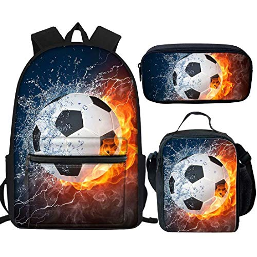 HUGS IDEA Water Fire Football Kids Bookbag Set with School Bag Insulated Lunch Box Pencil Bag