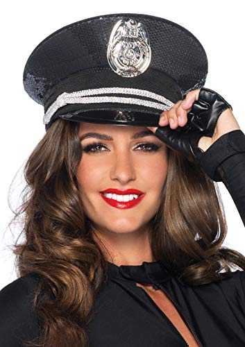 Black Sequin Cop Costumes - Leg Avenue Women's Sequin cop hat, Black/Silver, One