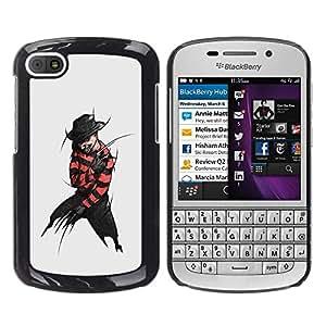 Smartphone Rígido Protección única Imagen Carcasa Funda Tapa Skin Case Para BlackBerry Q10 Villain Criminal Black Devil Hat Dark Man Art / STRONG