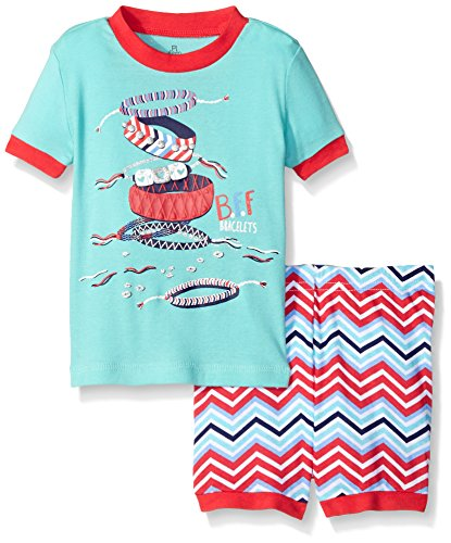 Petit Lem Girls' Baby 2 Piece Sleeve Top and Short Pajama Set-Fashionista, Turquoise, 24 Months ()