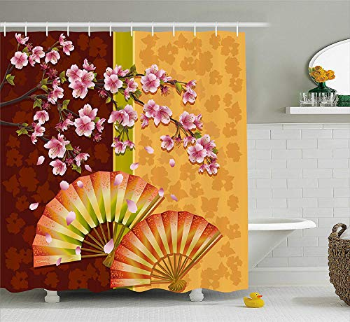 Floral Shower Curtain, Sakura Blooms with Japanese Hand Fan Figures Authentic Asian Design, Fabric Bathroom Decor Set with Hooks, 60 W x 72 L inches Extra Long, Marigold Baby Pink Burgundy