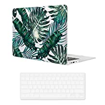 Macbook Air 13 inch Case,iCasso Art Printing Hard Shell Plastic Protective Case Cover for Apple Laptop Macbook Air 13 Inch Model A1369/A1466 With Keyboard (Palm Leaves)