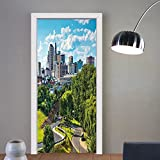 Gzhihine custom made 3d door stickers United States Hartford Connecticut USA Downtown Cityscape Aerial View Modern Life Sky Blue Green Grey For Room Decor 30x79