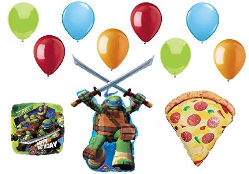 TEENAGE Mutant NINJA TURTLES and PIZZA 11 Piece Colorful Birthday Party Mylar & Latex Balloons Set, Plus Balloon Curling Ribbon!]()