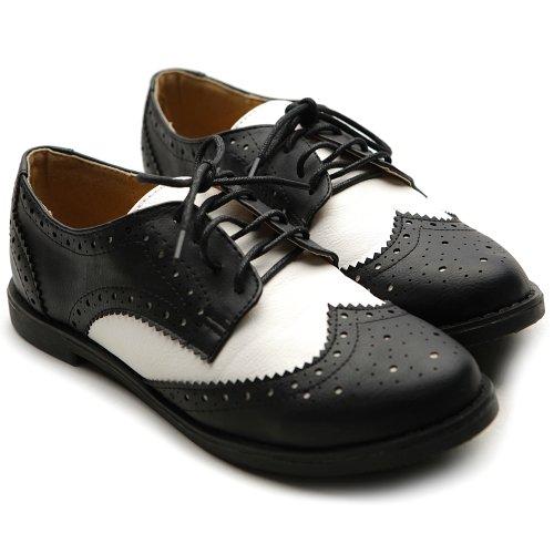 33a077abf293 Ollio Women s Flat Shoe Wingtip Lace Up Two Tone Oxford M2913(10 B(M ...