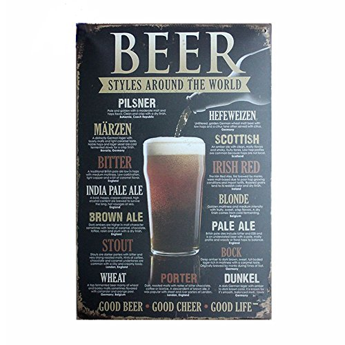 Retro Signs Decoratie Vintage Home Decor BEER STYLES AROUND THE WORLD Tin Sign Metal Plate Painting Wall Poster for Bar Pub Coffee Party