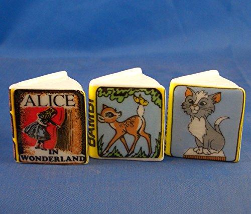 Porcelain China Collectable - Miniature Book Thimbles Set of Three - Disney - Miniature China