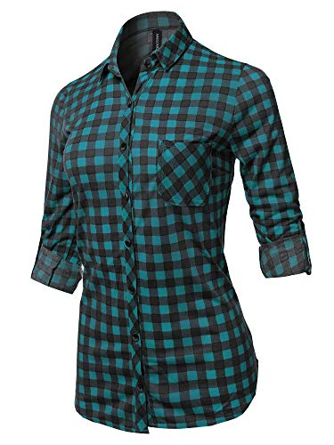 Awesome21 Casual Lightweight Long Sleeve Button Down Plaid Shirts Teal Black L