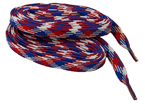 (GREATLACES extremeMAX(tm) Hockey Skate Style Heavy Duty Boot Laces Shoelaces - 2 Pair Pack (45 Inch 114 cm, Red White Blue))