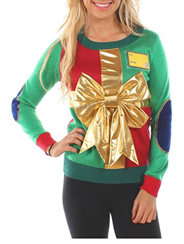 Tipsy Elves Women's Christmas Present Sweater - Cute Wrapping Paper Christmas Sweater