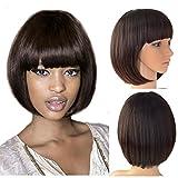 Beauty Angelbella Fashion Synthetic Short Bob Hair Wig With Straight Flat Bangs for Black Women (2-33#)