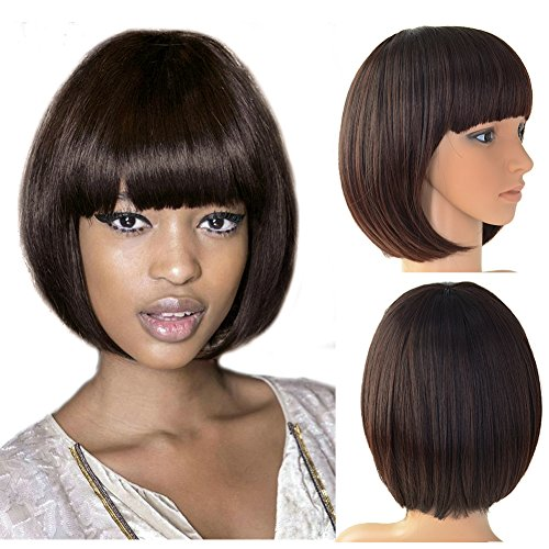 Beauty Angelbella Fashion Synthetic Short Bob Hair Wig With Straight Flat Bangs for Black Women (2-33#) by Beauty Angelbella