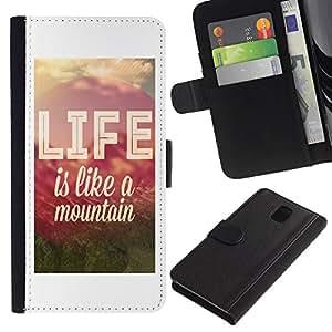WINCASE Cuadro Funda Voltear Cuero Ranura Tarjetas TPU Carcasas Protectora Cover Case Para Samsung Galaxy Note 3 III - la vida de montaña cotización positiva de motivación
