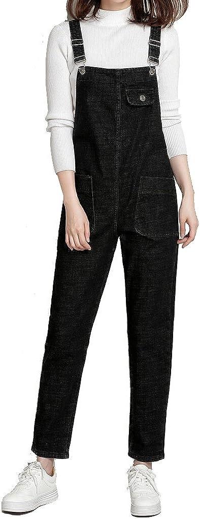 AiDeer Women's Classic Bib Overall Denim Sleeveless Romper Jeans Pockets Jumpsuit