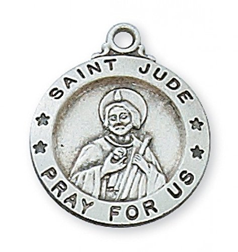 L700JU SS ST. JUDE 18' CH & BX STERLING SILVER ST. JUDE MEDAL PATRON SAINT OF HOPELESS CASES ENGRAVABLE 18