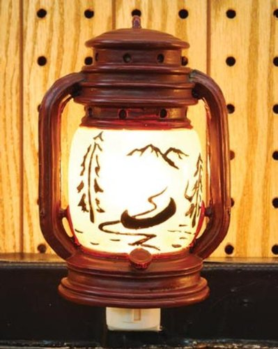 - Outlet Night Light Lantern with Canoe Scene, 6-inch
