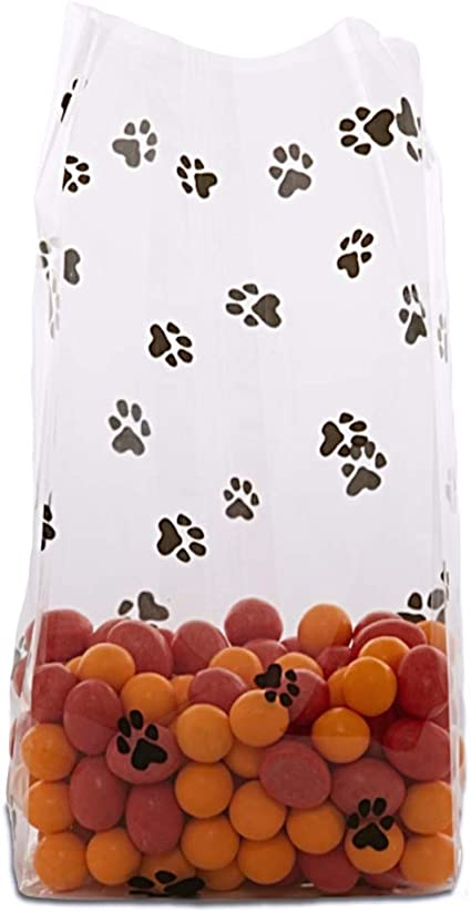 """- 3.5/"""" x 7.5/"""" with 2/"""" gusset 25 Paw Print Small Cello Treat Bags"""