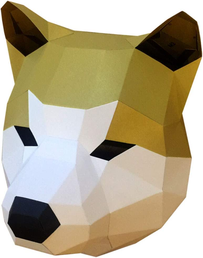LOVIVER 3D Akitas Head Mask Animal Puzzle Disfraz de Mascota de Halloween Papercraft DIY Kits - NO se Necesitan Tijeras