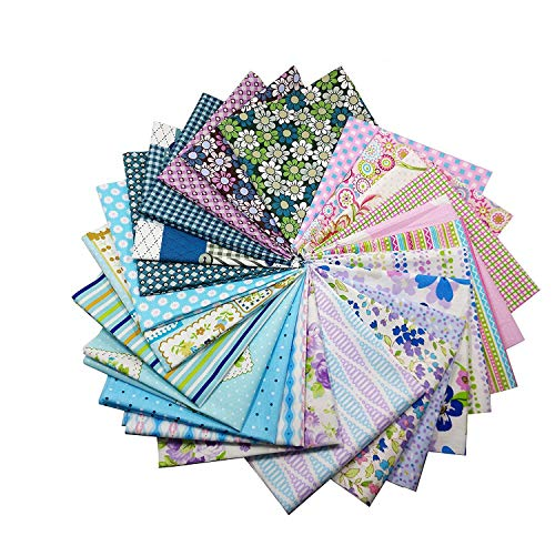 Gnognauq 50pcs Cotton Fabric DIY Patchwork Crafts Textile Square Fabric Assortment with Different Patterns for DIY Sewing Quilting Patchwork Crafts Doll Cloth (30cm x 30cm) -