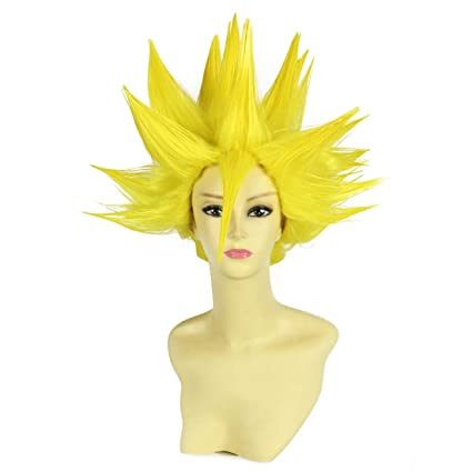 HOOLAZA Amarillo Corto Recto Pelo Rizado Cola Cosplay Peluca Dragon Ball Vegetto Gogeta Cosplay Pelucas