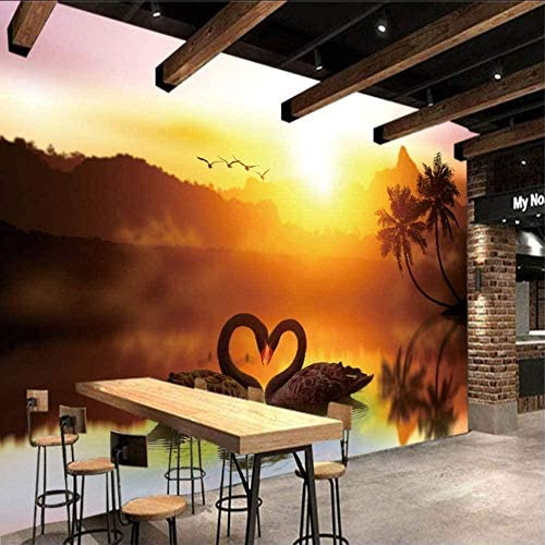 Hxcok 3D立体テレビの背景の壁紙写真の壁紙白鳥の壁紙壁画リビングルームの寝室の家の装飾-250x175CM