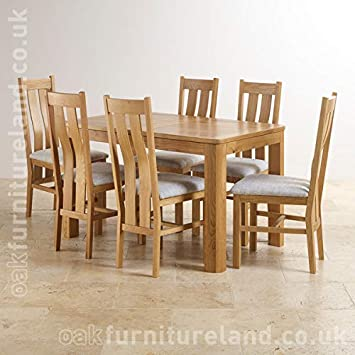 Romsey Natural Solid Oak Extending Dining Set With 6 Arched Back And Plain Grey Fabric Chairs Amazoncouk Kitchen Home