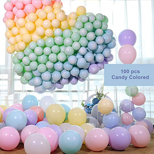 (Latex Balloons 10 Inches Macaron Candy Colored Latex Party Balloons for Wedding Graduation Kids Birthday Party Christmas Baby Shower Party Supplies, Pack-100)