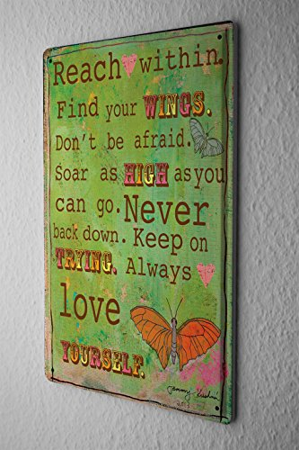 Butterfly Wings Postcard - Tin Sign Sayings Wisdom Green Reach High Wings Trying Love Butterfly Metal Plate 8X12