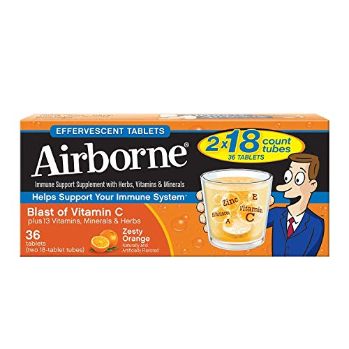 Airborne Effervescent Health Immune Boosting Formula Zesty Orange 36 Tablets (Bonus Size) (108 ()