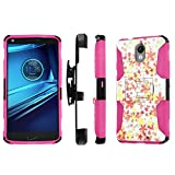 Motorola Droid Turbo 2 / Moto X Force 2 / Kinzie Bounce Xt1585 Case, [NakedShield] [Black/ Hot Pink] Holster Armor Case - [Flower Stamp] for Moto[Droid Turbo 2][X Force 2] [Xt1585]