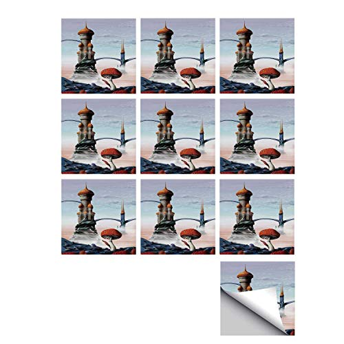 C COABALLA Fantasy House Decor Stylish Ceramic Tile Stickers 10 Pieces,Illustration of A Fantasy Castle Kingdom in an Alien World Science Fiction Fun Art for Kitchen Living Room,7