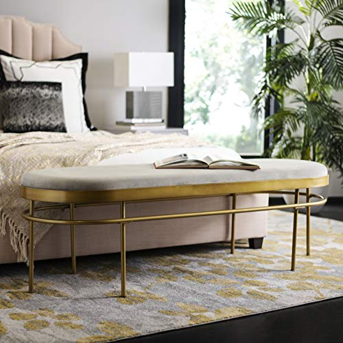 Safavieh Home Collection Sylva Oval Bench, Grey/Gold (Storage Bench Gold)